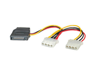 Roline Power Supply Y-Adapter Power Cable 1x SATA / 3x Molex 5.25 [11.03.1040] Εικόνα 1
