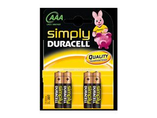 Duracell Simply Alkaline Batteries AAA-LR03 4-pack [MN2400] Εικόνα 1