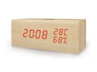 Life WES-106 Wooden Digital Thermometer/hydrometer with Clock Εικόνα 1