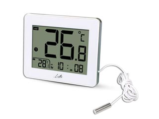 Life WES-202 Digital Thermometer with Clock - White Εικόνα 1