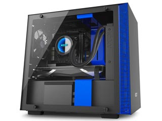 NZXT H Series H200i RGB Windowed Mini-Tower Case with CAM-Smart Features - Matte Black/Blue [CA-H200W-BL] Εικόνα 1