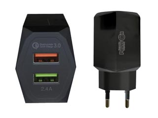 Power On USB Fast Charger 2-Ports CH-85K - Black Εικόνα 1