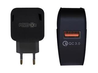 Power On USB Fast Charger 1-Port CH-80K - Black Εικόνα 1